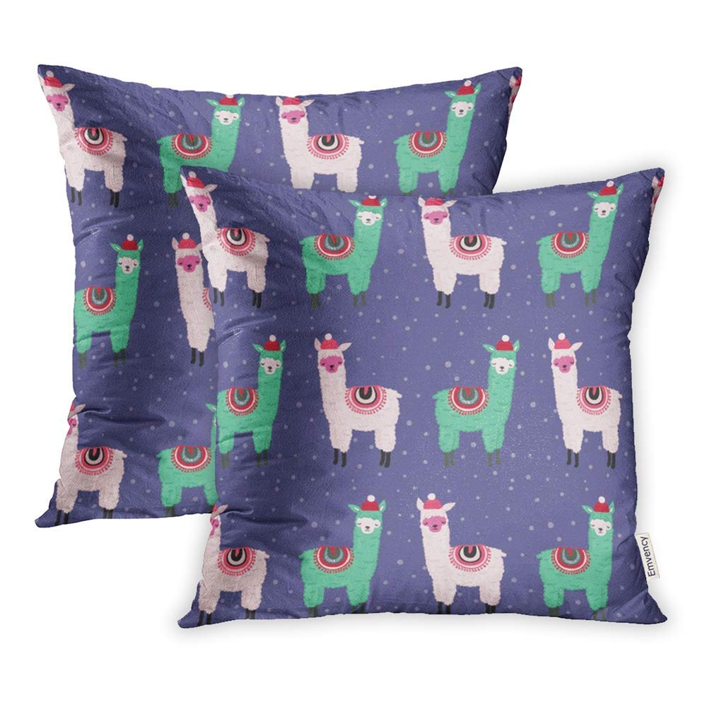USART Colorful Cartoon Cute Green Pink Violet Alpaca Merry Christmas Lama Celebration Kids Pillow Case Pillow Cover 18x18 inch Set of 2
