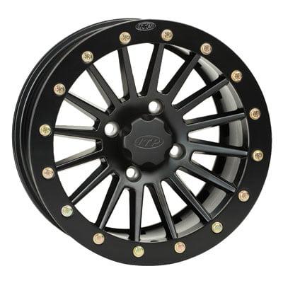 4/156 ITP SD Series Single Beadlock Wheel 12x7 4.0 + 3.0 Black Beadring for Polaris SPORTSMAN BIG BOSS 800 6X6 EFI 2009-2014 800 Series Single