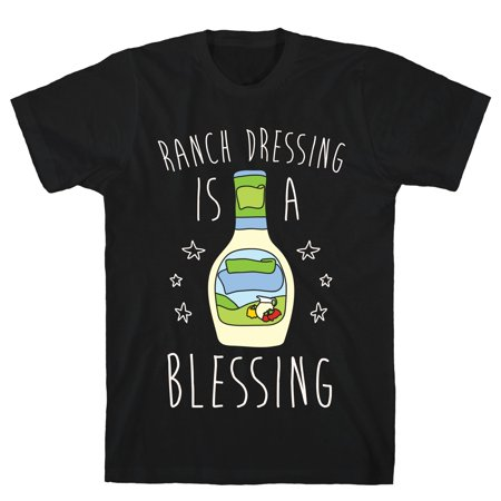LookHUMAN Ranch Dressing Is A Blessing Black Men's Cotton (Mens 12 Black Ranch)