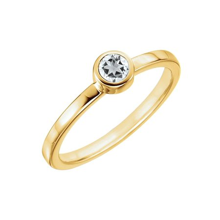 14k Yellow Gold 1/4 Ct Diamond Bezel Set Solitaire Ring