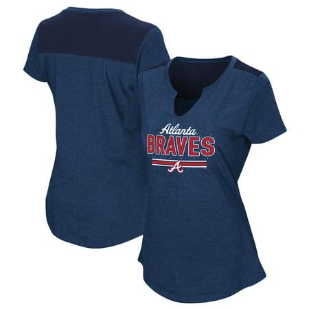 Women's Majestic Navy Atlanta Braves Plus Size Switch Hitter T-Shirt (Twitch T Shirt)
