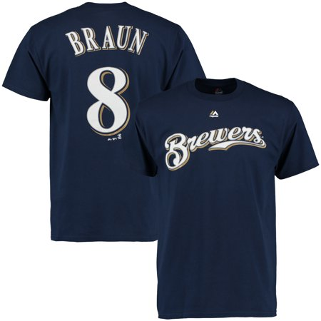 Ryan Braun Milwaukee Brewers Majestic Official Name & Number T-Shirt - Navy