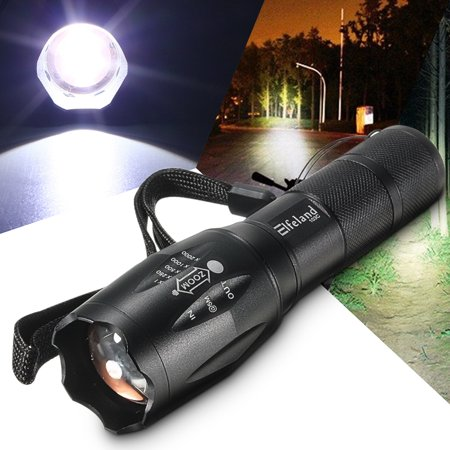 Elfeland Super Bright 5000 Lumens 8W T6 LED Zoomable Flashlight Torch Lantern + 18650 Rechargeable Battery For Camping