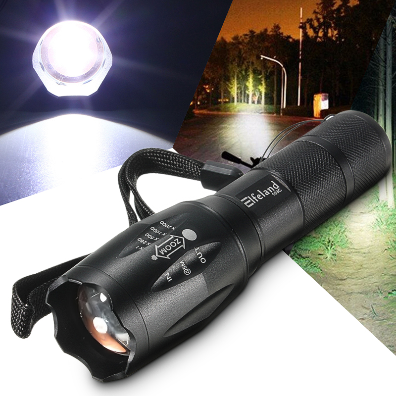 Elfeland Super Bright 5000 Lumens 8W T6 LED Zoomable Flashlight Torch Lantern + 18650 Rechargeable Battery For Camping Hiking
