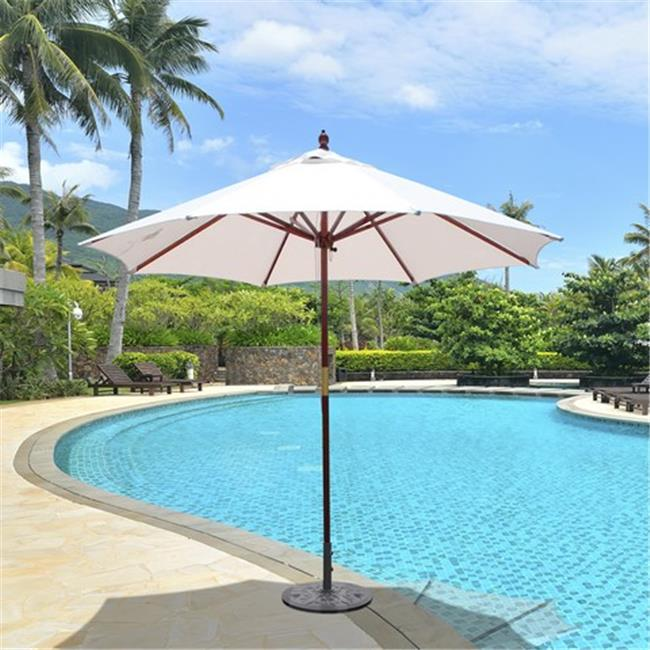 Galtech 9 ft. Dark Wood Double Pulley Lift Umbrella - Taupe Sunbrella