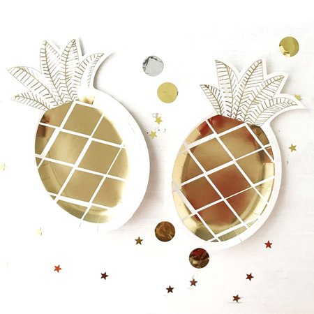 Directer 8Pcs Disposable Pineapple Paper Plate Gold Foil Birthday Party Carnival Supplies