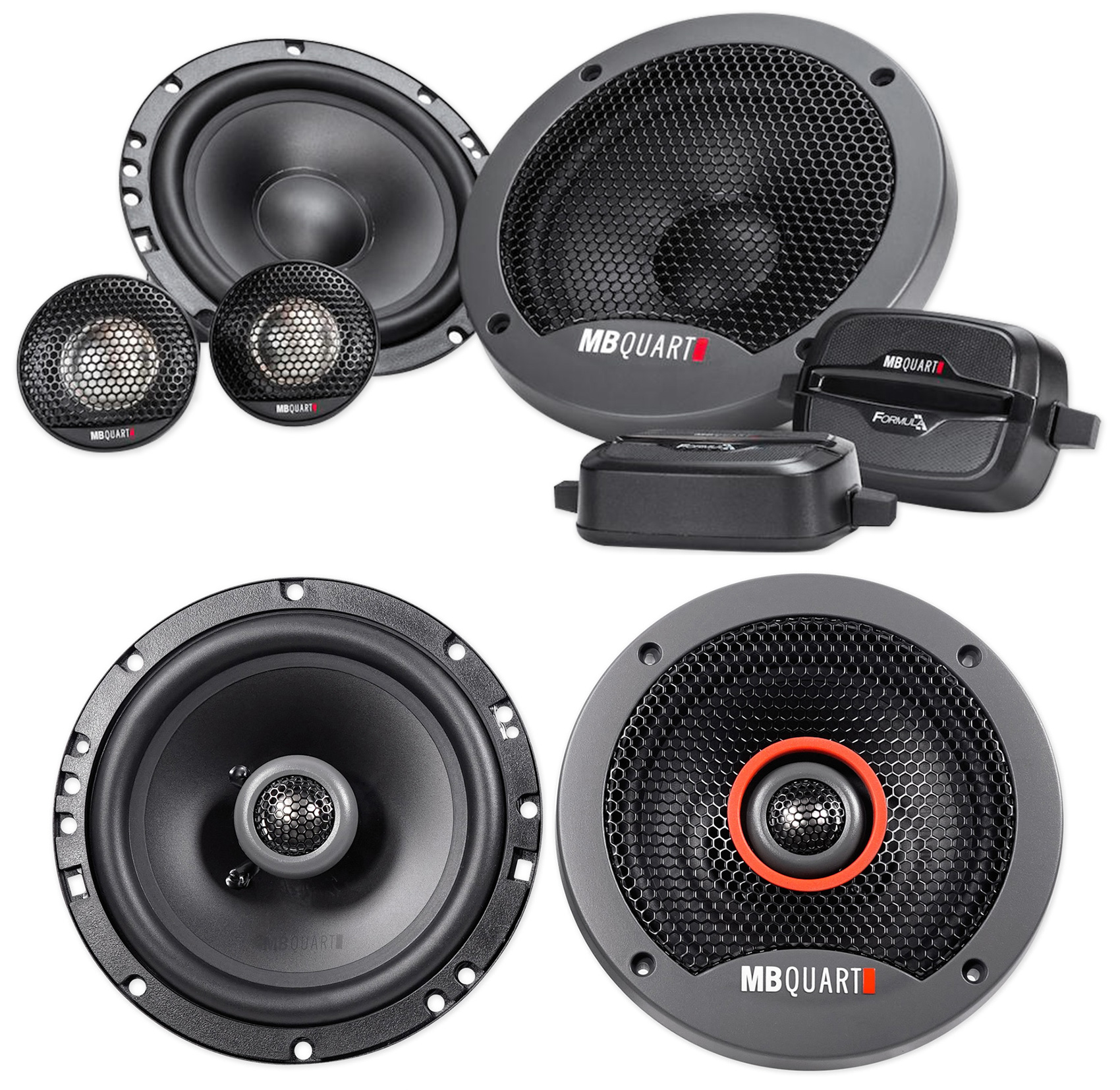 "Pair MB QUART FSB216 6.5"" 280 Watt Component Speakers+(2) 6.5"" Coaxial Speakers"