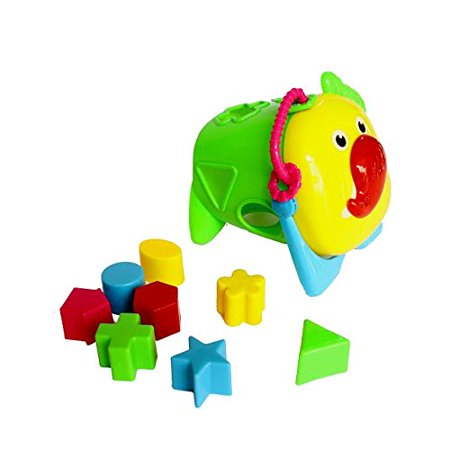 Educational Shapes Sorting Cube with Animal Face and Multicolor Geometric Shape Blocks - Interactive Learning Shape Matching Puzzle Playset - Improves Shape Recognition Cognition and Coordination