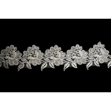 """Altotux 3.5"""" White Rose Flower Embroidered Sequins Beaded Organza Lace Trim By Yd"""