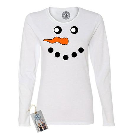 Snowman Face Christmas Holiday Womens Long Sleeve (Long Faced Women)