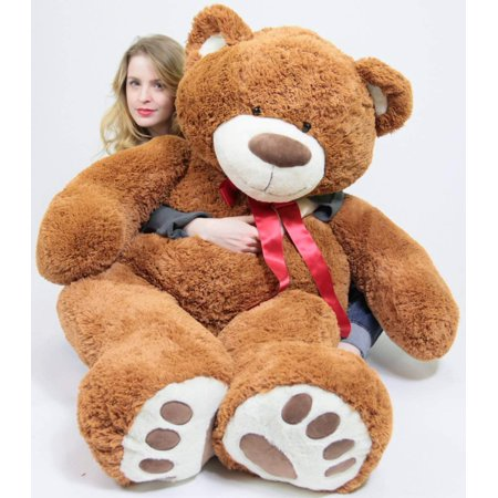 5 Foot Very Big Smiling Teddy Bear 60 Inch Soft Brown Giant Stuffed Animal with Bigfoot - Teddy Bear Dog