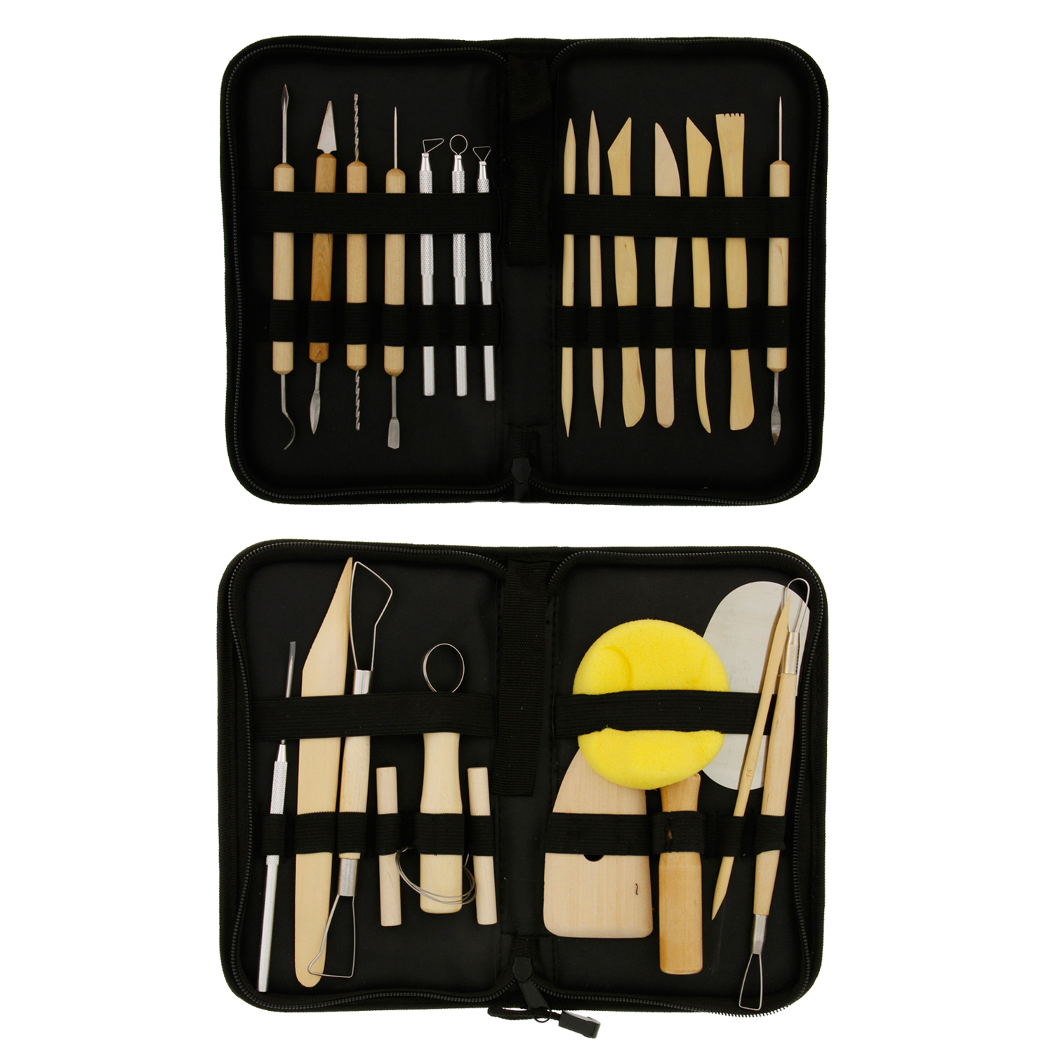 US Art Supply 26-Piece Pottery & Clay Sculpting Tool Sets with Cases