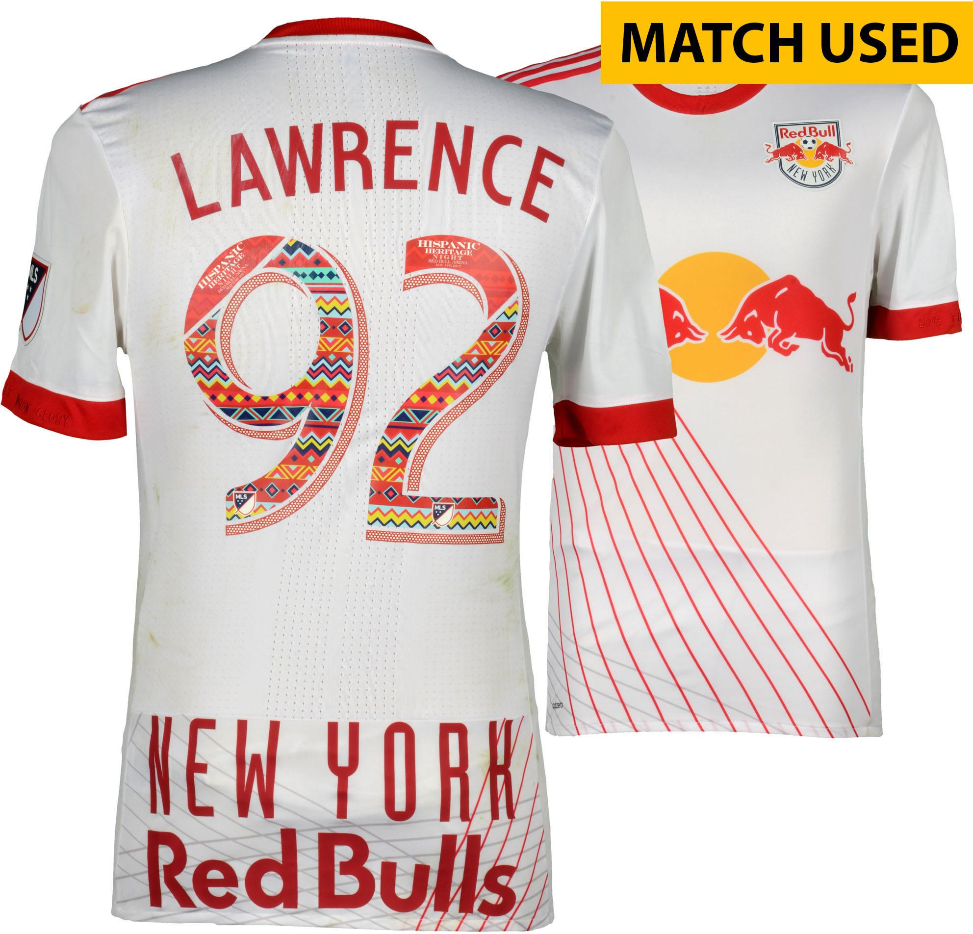 new concept c1c98 60de0 Kemar Lawrence New York Red Bulls Match-Used #92 White Jersey Worn During  First Half of Hispanic Heritage Night vs. L.A. Galaxy on May 14, 2017 - ...