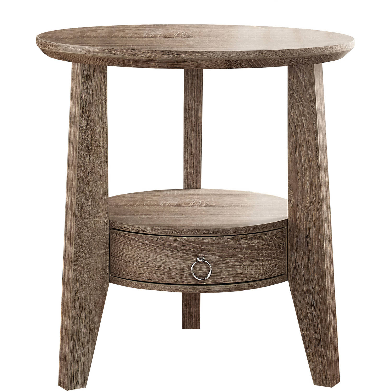 "Monarch Accent Table 23""Dia / Dark Taupe With 1 Drawer"