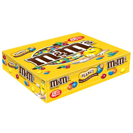 M&M'S Peanut Chocolate Candy Singles Size Pouches, 1.74 Ounce Pouch, 48 Count Box](M&m Sharing Size)