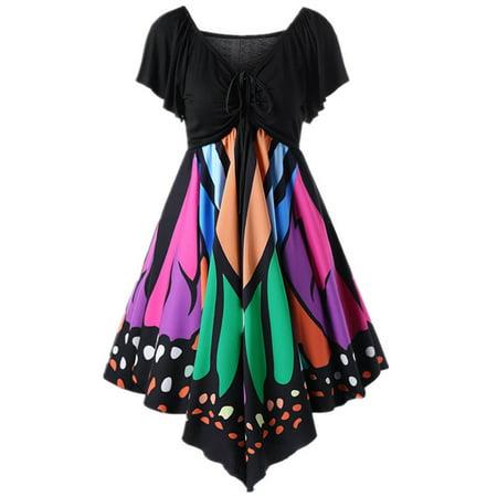 Butterfly Print Plus Size Women High Waist Skinny Shirts Dress
