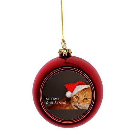 Ornaments with Cats - Mackerel Kitten Cat in a Santa Klaus Hat Bauble Christmas Ornaments Red Bauble Tree Xmas Balls - Cat With Santa Hat