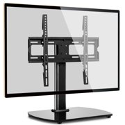 Black Universal Table Top TV Stand Metal Mount for TVs up to 55 inch, Black