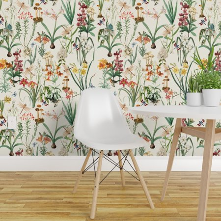 Removable Water Activated Wallpaper Dragonflies Vintage Floral Garden