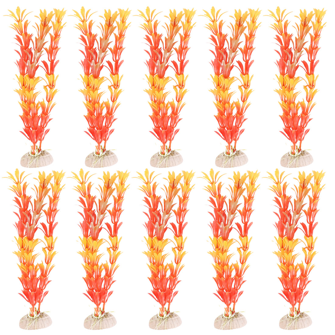 10pcs Artificial Plastic Decor Plant Grass for Aquarium Orange - image 1 of 1