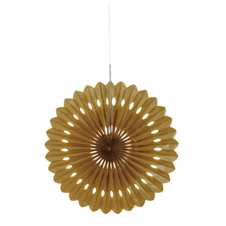 Tissue Paper Fan Decoration, 16 in, Gold, 1ct