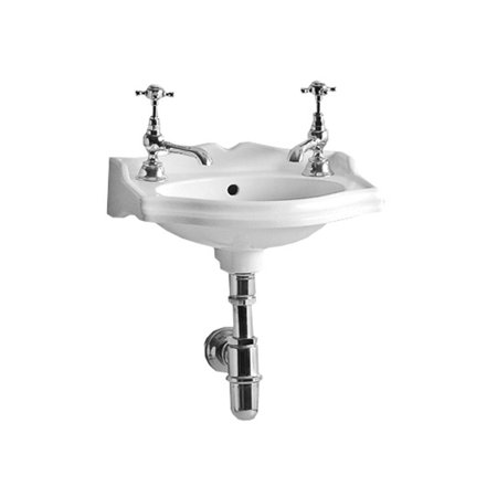 """Whitehaus AR035-T China 14-3/4"""" Wall Mounted Bathroom Sink with 2 Holes Drilled and Overflow"""