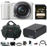 Sony Alpha a5000 SLR Camera w/ &  32GB SDHC Accessory Bundle (White)