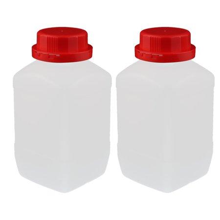 2pc 600ml rouge plastique large bouche carré flacon réactif chimique échantil. - image 2 de 2