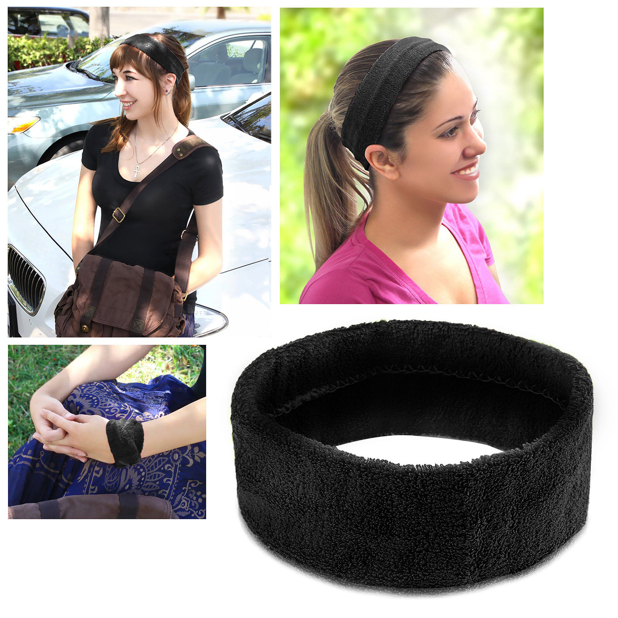2 Pack Zodaca Black Fashion Yoga Elastic Headband Head Hair Band Women Ladies Girl Accessories Sport
