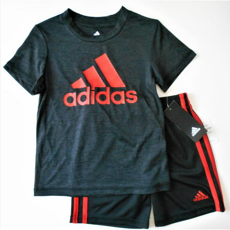 ADIDAS BOYS OUTFIT 2PC SHIRT SHORTS SET BASKETBALL SOCCER - BLACK RED
