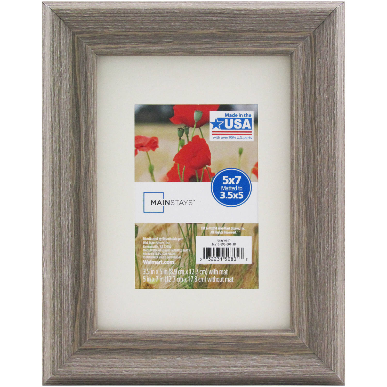 Mainstays 5x7 Matted To 35x5 Graywash Picture Frame Walmartcom