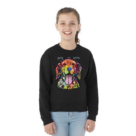 Cute Colorful Dog is Love Youth Crewneck Official Dean Russo