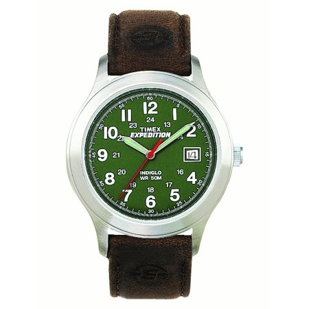 Men's Expedition Metal Field Watch, Brown Leather Strap (Mens Timex Brown Watch)