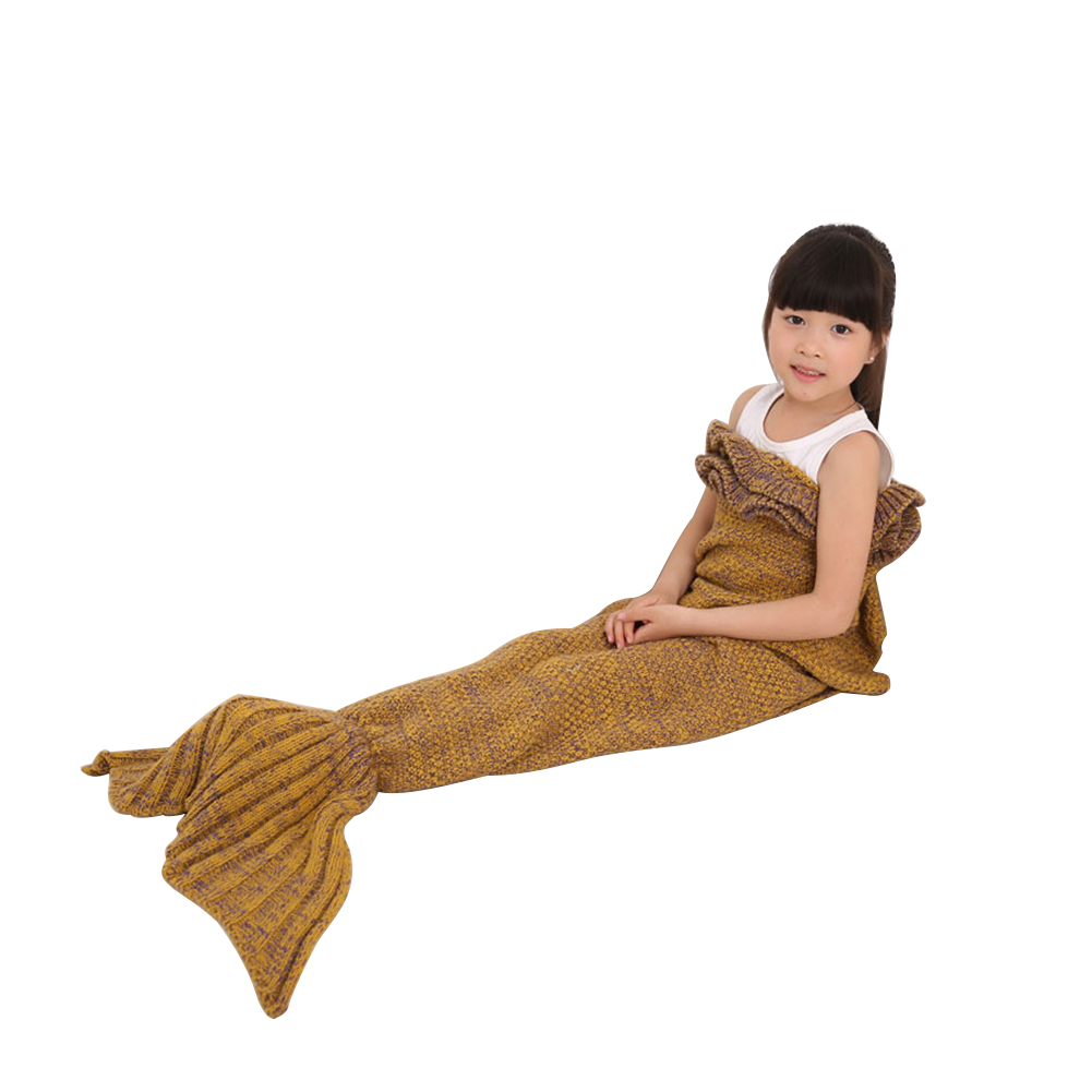 Mermaid Tail Blanket with Lotus Leaf Layer Trim Super Soft Knitting Sleeping Bag for Kids by