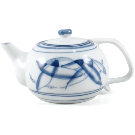 Blue & White Asian Chinese Personal Fish Teapot 9 oz