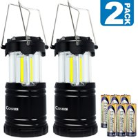 Camping Lantern Super Bright, Costech Latest COB Technology (350 Lumen) Portable Outdoor Lights, Hanging Flashlight Camping Gear Equipment with Batteries for Hurricane Storm Outage Emergency (2 pack)