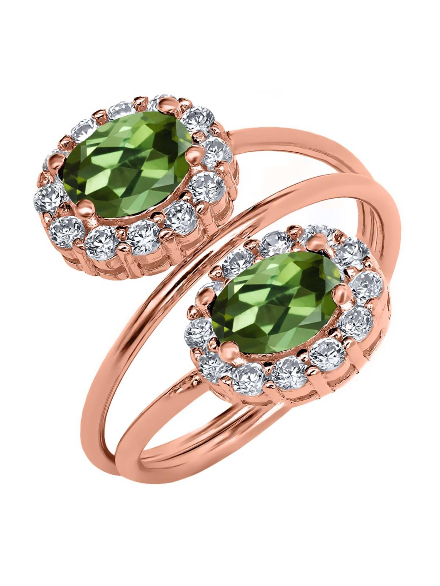 2.48 Ct Oval Green Tourmaline 18K Rose Gold Plated Silver Ring by