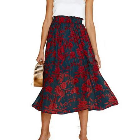 Women Mid Length Stretch Flared Skater Swing Midi Skirt](Mid Length Petticoat)
