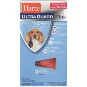 Hartz UltraGuard Plus Flea & Tick Drops for Dogs & Puppies 16-30 Pounds, 3 Doses