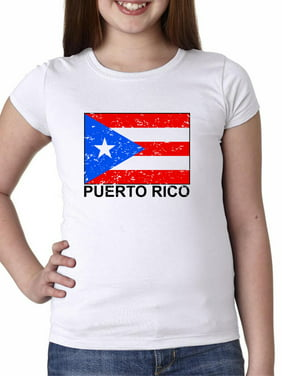 Puerto Rico Flag - Special Vintage Edition Girl's Cotton Youth T-Shirt