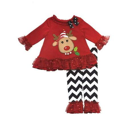 Rare Editions Girls Christmas Reindeer Tunic Chevron Pant Set