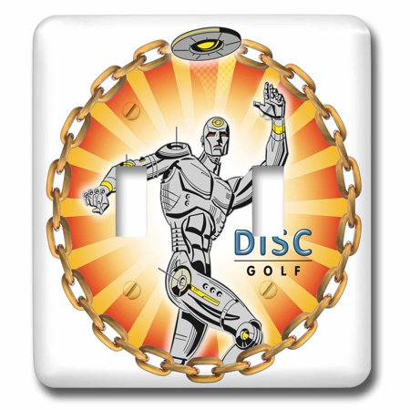 3dRose Robot Thrower 2 a mechanical robot throws frisbee playing disc golf - Double Toggle Switch (Best Way To Throw A Frisbee Golf Disc)