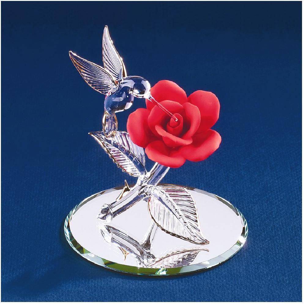 Red Rose Hummingbird Glass Figurine Floral Garden Nautical Glas Baron For Women