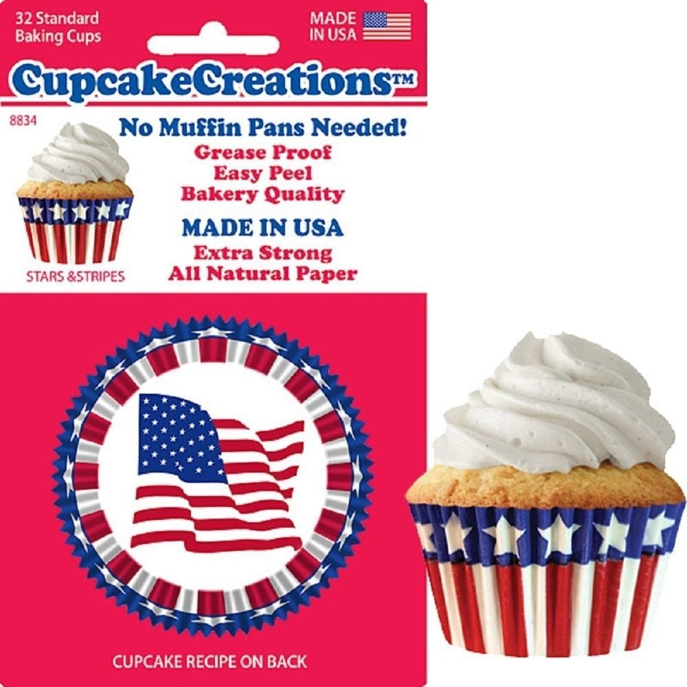 , No Muffin Pan Required Baking Cups, Stars & Stripes, 8834, Ship from USA,Brand Cupcake Creations by