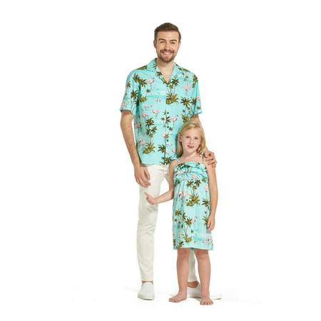 Made in Hawaii Matching Father Daughter Luau Shirt Girl Ruffle Dress in Flamingo Turquoise
