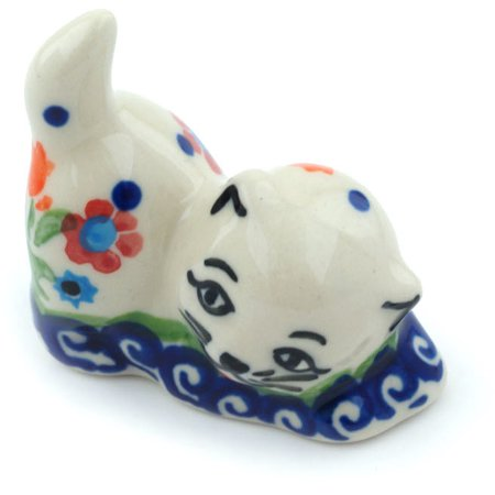 Polish Pottery 2½-inch Cat Figurine (Spring Flowers Theme) Hand Painted in Boleslawiec, Poland + Certificate of