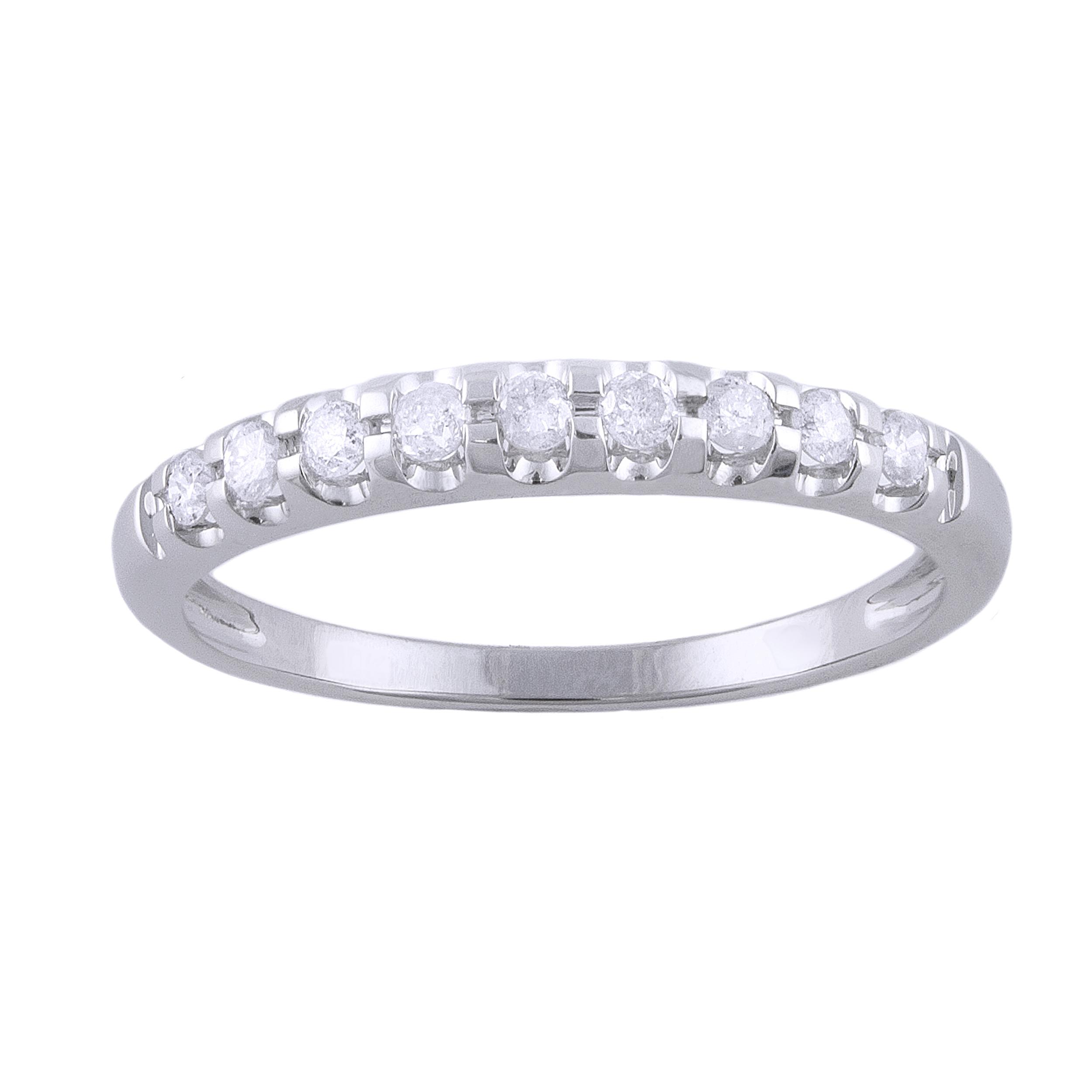 14K White Gold 1/5 carat Diamond Semi Eternity Band Ring