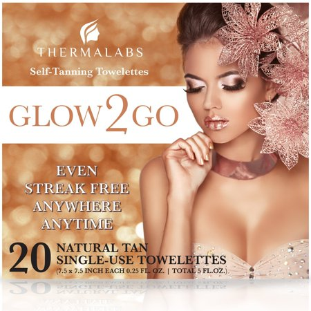 Glow2Go Original Self Tan Towelettes, Sunless Tanning Towels XL 20 Pack for Quick Sun Glow On the Go! Fair to Medium Half Body Self-Tanning Wipes. Use Tanner Towelette for Bronzing Face