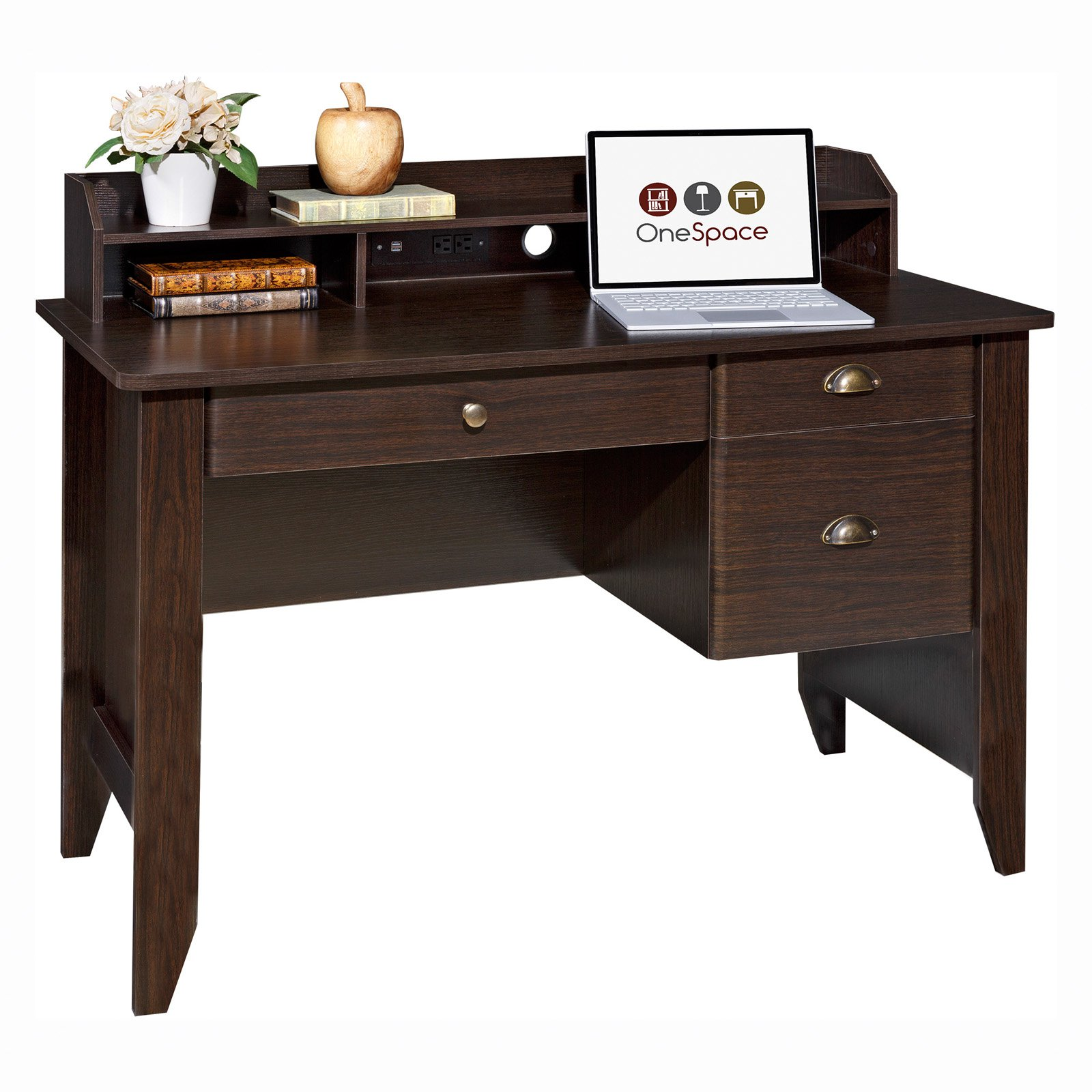 Comfort Products Executive Desk with Hutch and USB, Charger Hub