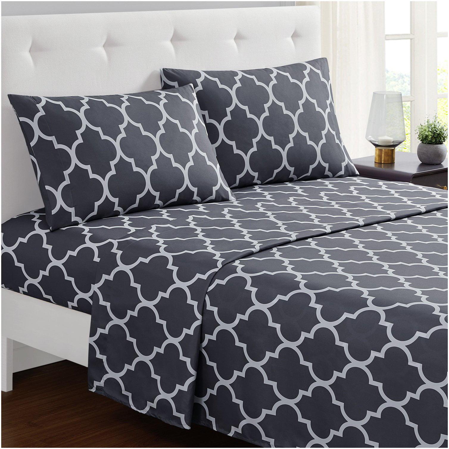 Wrinkle Stain Resistant Microfiber Deep Pocket Mellanni 4-Piece Bed Sheet Set